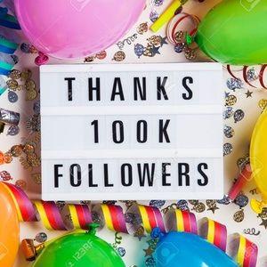 100K followers!! 💕🥂🎊🎉
